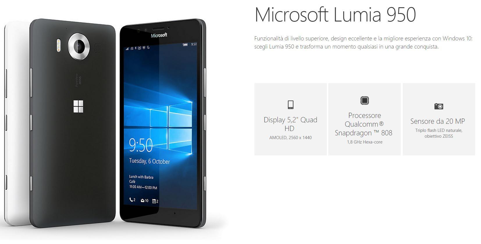 Microsoft presenta ufficialmente i nuovi Lumia 950 e 950 ...